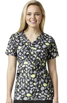 Clearance Easy Fit By Wonderwink Women's Mock Wrap Abstract Print Scrub Top