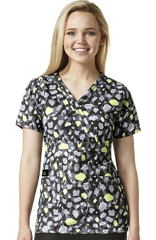 Easy Fit By Wonderwink Women's Mock Wrap Abstract Print Scrub Top