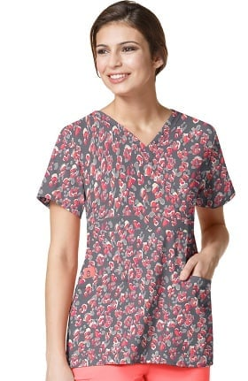 Clearance Easy Fit by WonderWink Women's Mock Wrap Animal Print Scrub Top