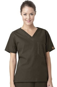 unisex tops: Carhartt Unisex V-Neck 1-Pocket Solid Scrub Top