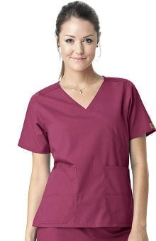 Clearance Carhartt Women's Mock Wrap 2-Pocket Solid Scrub Top