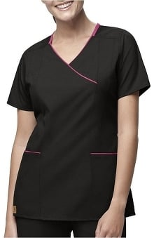 Clearance Carhartt Women's Y-Neck Contrast Solid Scrub Top