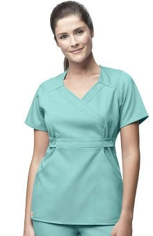Clearance Carhartt Women's Mock Wrap Solid Scrub Top