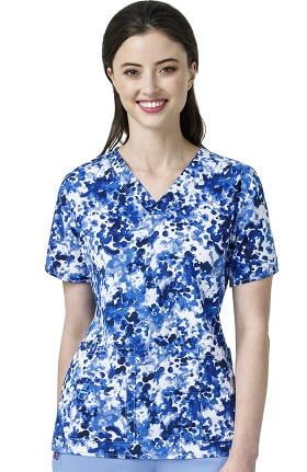 CROSS-FLEX by Carhartt Women's V-Neck Abstract Print Scrub Top