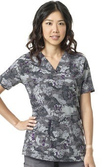 CROSS-FLEX by Carhartt Women's V-Neck Camo Print Scrub Top