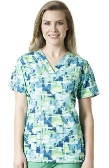 Cross-Flex By Carhartt Women's V-Neck Coastal Print Scrub Top