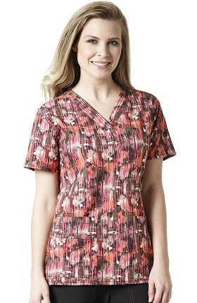Clearance Cross-Flex By Carhartt Women's V-Neck Golden Print Scrub Top