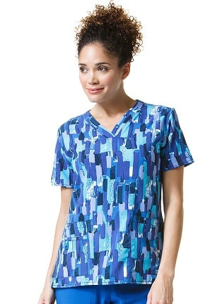 Clearance Cross-Flex by Carhartt Women's V-Neck Abstract Print Scrub Top