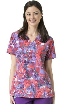 CROSS-FLEX by Carhartt Women's V-Neck Floral Print Scrub Top