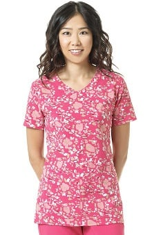 CROSS-FLEX by Carhartt Women's Y-Neck Floral Print Scrub Top