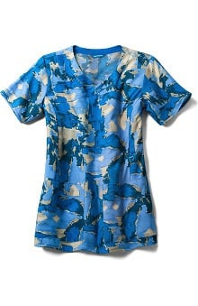 CROSS-FLEX by Carhartt Women's Y-Neck Fashion Abstract Print Scrub Top