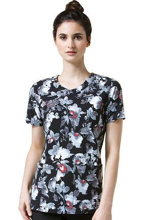Cross-Flex by Carhartt Women's Mock Wrap Fashion Floral Print Scrub Top