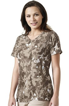 Cross-Flex By Carhartt Women's Y-Neck Fashion Natural Print Scrub Top