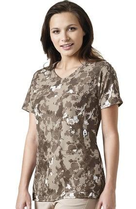 Clearance Cross-Flex By Carhartt Women's Y-Neck Fashion Natural Print Scrub Top