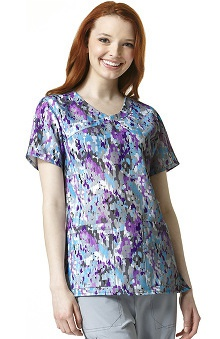 Cross-Flex by Carhartt Women's Mock Wrap Abstract Print Scrub Top