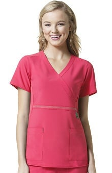 Clearance Cross-Flex by Carhartt Women's Knit Mock Wrap Solid Scrub Top