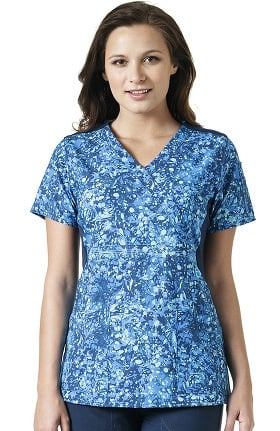 Cross-Flex By Carhartt Women's Knit Mix Mock Wrap Abstract Print Scrub Top