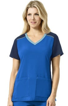 CROSS-FLEX by Carhartt Women's Knit Mix V-Neck Solid Scrub Top