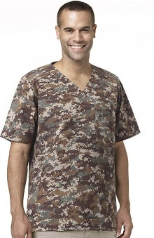 Ripstop by Carhartt Men's V-Neck Camo Print Scrub Top