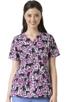 Rockwall by Carhartt Women's V-Neck Dog Print Scrub Top