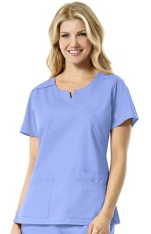 Rockwall by Carhartt Women's Notch Neck Solid Scrub Top