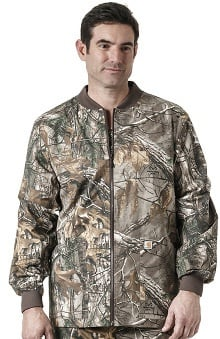 Carhartt Men's Zip Front Abstract Print Scrub Jacket