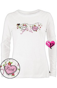 Clearance Mary Engelbreit Women's Me Screen Long Sleeve BCA Print Scrub Underscrub