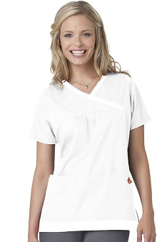 "Clearance Mary Engelbreit Women's ""Y"" Neck Trimmed Solid Scrub Top"
