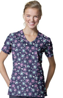 Zoe And Chloe Women's V-Neck Firework Print Scrub Top