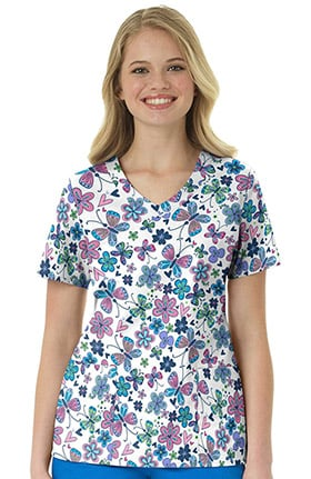 Zoe and Chloe Women's V-Neck Butterfly Print Scrub Top