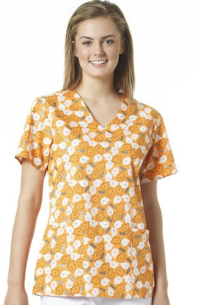 Clearance Zoe and Chloe Women's 2 Pocket V-Neck Boo Print Scrub Top