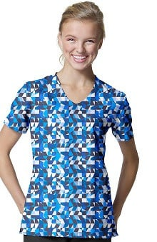Zoe And Chloe Women's V-Neck Abstract Print Scrub Top