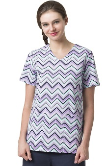 Clearance Zoe and Chloe Women's 2 Pocket V-Neck Geometric Print Scrub Top