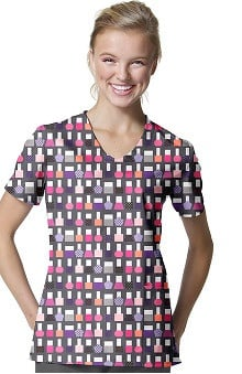 Zoe And Chloe Women's V-Neck Nailpolish Print Scrub Top