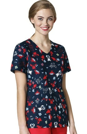 Zoe and Chloe Women's 2 Pocket V-Neck Crab Print Scrub Top