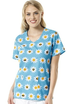 Zoe and Chloe Women's V-Neck Floral Print Scrub Top