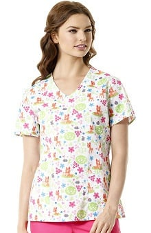 Zoe and Chloe Women's V-Neck Deer Print Scrub Top
