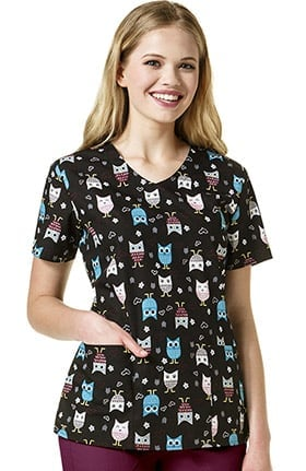 Zoe and Chloe Women's V-Neck Owl Print Scrub Top