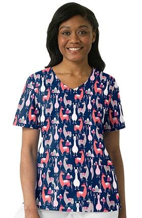 Zoe and Chloe Women's V-Neck Llama Print Scrub Top