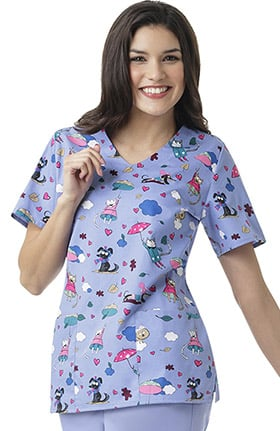 Zoe and Chloe Women's V-Neck Cats & Dogs Print Scrub Top