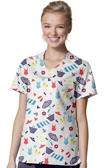 Zoe And Chloe Women's V-Neck Summer Print Scrub Top