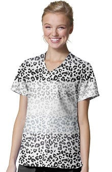 Zoe And Chloe Women's V-Neck Animal Print Scrub Top