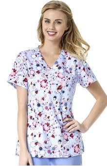 Zoe and Chloe Women's 2 Pocket Mock Wrap Ladybug Print Scrub Top