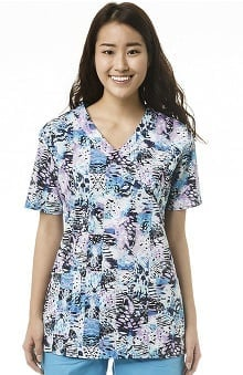 Zoe And Chloe Women's Mock Wrap Abstract Print Scrub Top