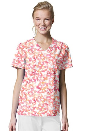 Zoe and Chloe Women's Mock Wrap Butterfly Print Scrub Top