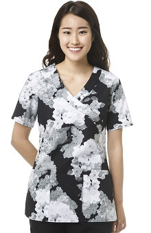 Zoe and Chloe Women's Mock Wrap Floral Print Scrub Top