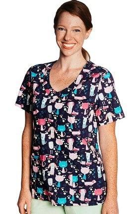 Tasha + Me Women's V-Neck Pets Print Scrub Top