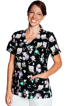 Tasha + Me Women's V-Neck Owl Print Scrub Top