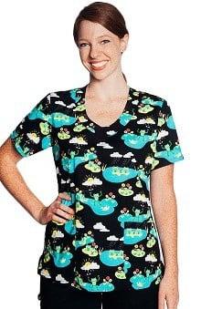 Tasha + Me Women's V-Neck Frog Print Scrub Top