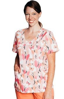Tasha + Me Women's Mock Wrap Butterfly Print Scrub Top
